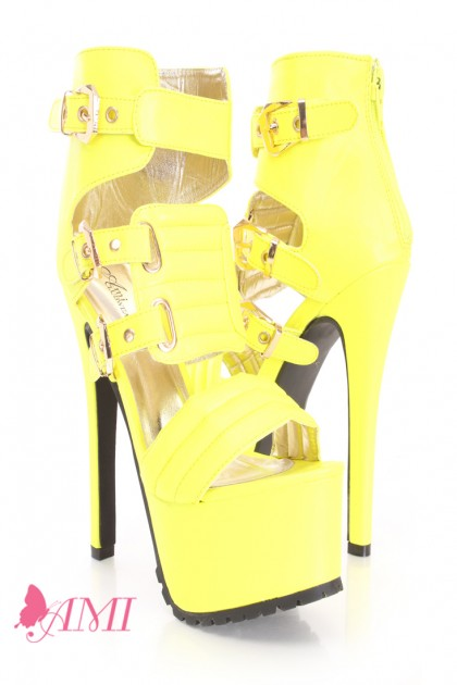 Neon yellow strappy platform high heels faux leather