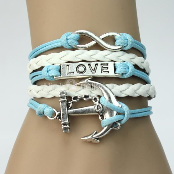 Trendy Women Metal Infinity Rudder Anchor Leather Adjustable Bracelet Sky Blue_$2.67
