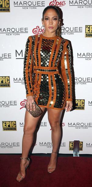 Dress Mini Dress Sandals Sandal Heels Jennifer Lopez Long Sleeve Dress Mirror Metallic Gold Wheretoget