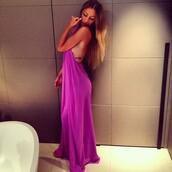 dress,purple,long dress,maxi dress,cross back