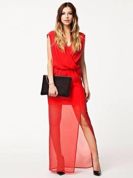 dress red dress long