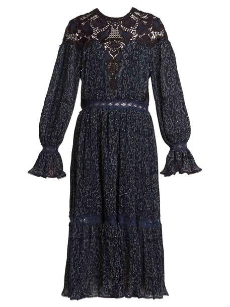 dress pleated dress pleated lace print paisley blue