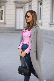 lady addict,blogger,coat,skirt,pink blouse,chanel bag,grey coat,spring outfits,blouse,tumblr,shirt,pink shirt,ruffle,ruffle shirt,jeans,blue jeans