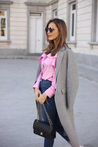 0e2824875d957 lady addict blogger coat skirt pink blouse chanel bag grey coat spring  outfits blouse tumblr shirt
