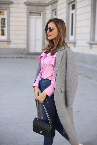 0e2824875d957 lady addict blogger coat skirt pink blouse chanel bag grey coat spring  outfits blouse tumblr shirt