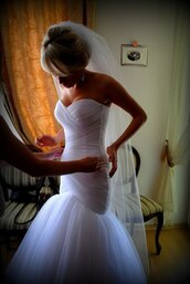 dress,wedding dress,fishtail
