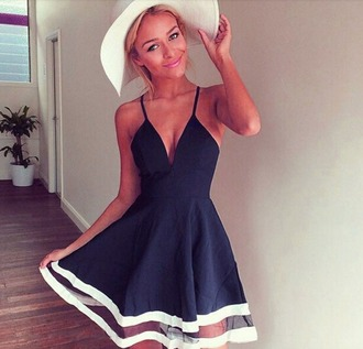 dress summer dress blue dress white summer white hat low v neck dress elegant navy high-low dresses summer outfits