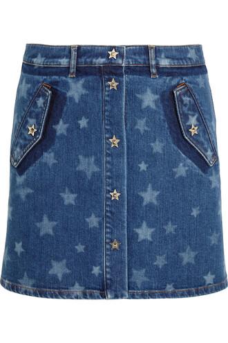 skirt mini skirt denim mini print