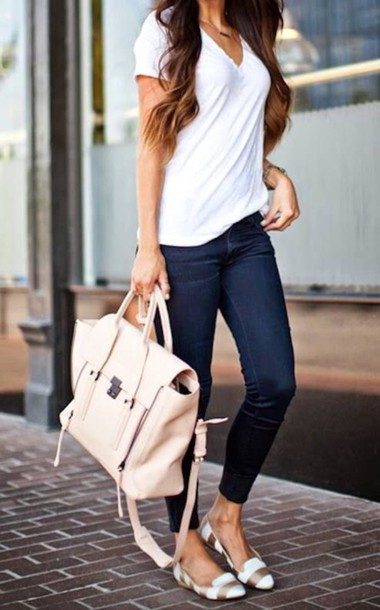 shoes jeans bag gold gold and white white flats stripes shirt