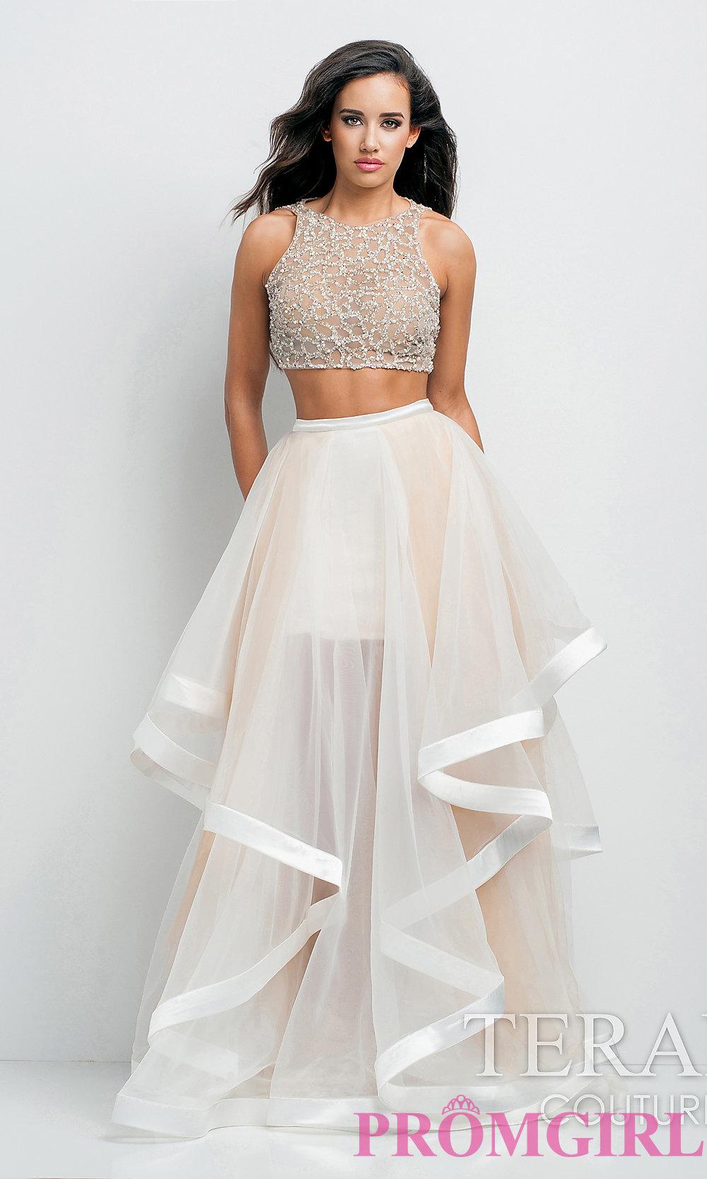 Long two piece prom dress by terani p0102