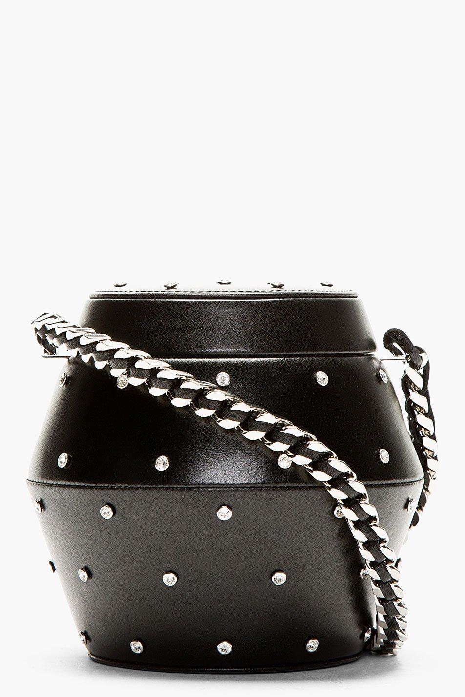 Saint Laurent Black Leather Studded Minaudiere Canister Bag