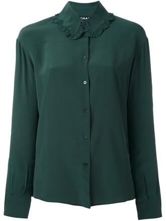 shirt collar shirt green top