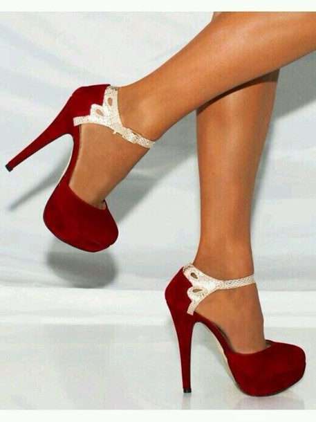 Shoes: red pumps heels snake skin red high heels cute high