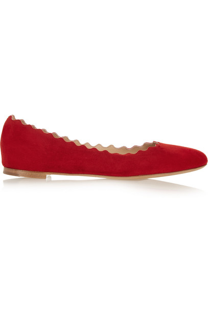 ballet scalloped flats ballet flats suede red shoes