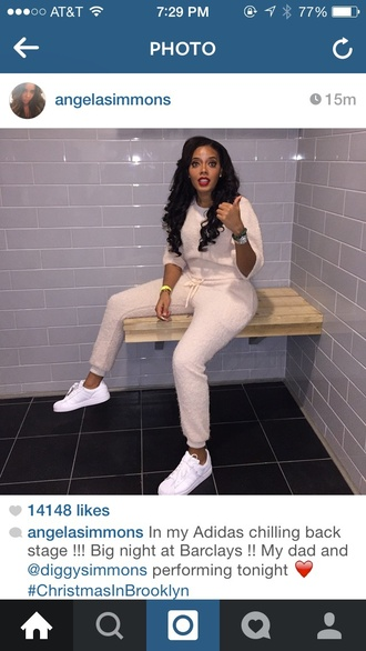 jumpsuit angela simmons coordinates fauxfur celebrity style sweatsuit terry cloth style pink fashion celebrity