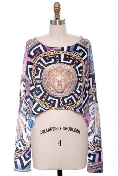 top swag dope t-shirt print shirt crop tops fashion fall outfits versace trendy