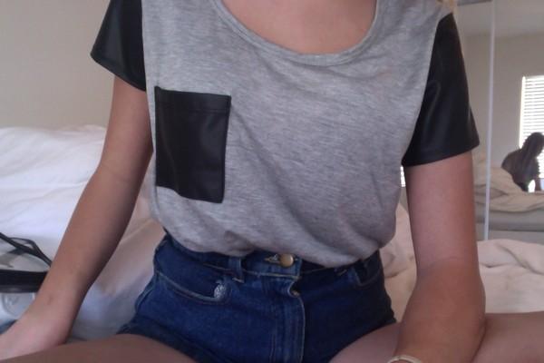grey t-shirt pocket t-shirt pockets High waisted shorts denim shorts