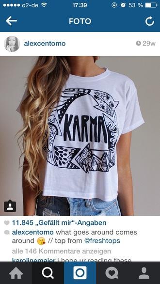 shirt white t-shirt karma festival
