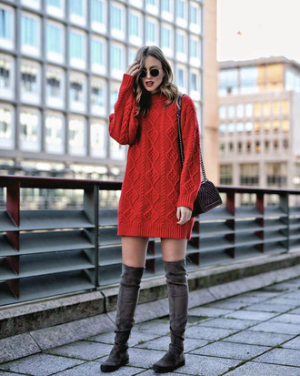 dress tumblr sweater dress knit knitwear knitted dress cable knit boots grey boots over the knee boots sunglasses