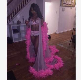 underwear pink feathers lingerie robe fluffy fur robe pajamas fur robes fur coat faux fur jacket lingerie set lace lingerie sexy lingerie silk sexy black dress black see through long pink robe with fur trim sheer lingerie blouse cardigan nude fur robe coat jacket