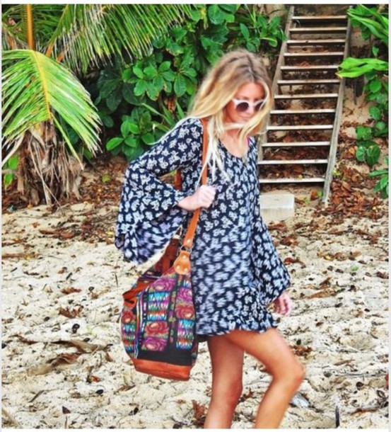 dress tunic dress blue dress beach dress boho chic mini dress dress style summer dress bag tote bag india love hippie hippie