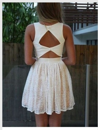 dress triangle back white short summer