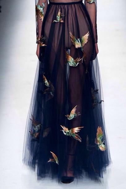 skirt see through birds long skirt black