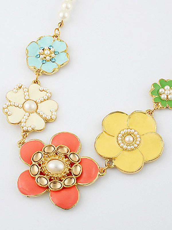 Colorful Flower Pearl Fashion Necklace : KissChic.com