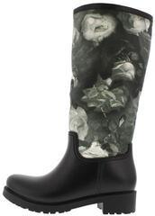 shoes,boots,rainboots,lug sole,black boots,floral,vue boutique,vue