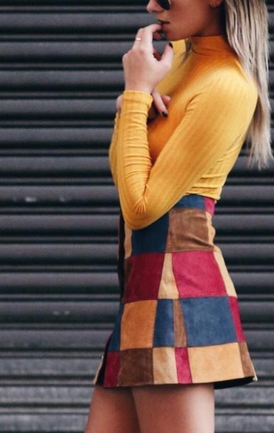 skirt yellow patchwork