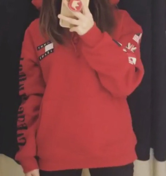 blouse tommy jeans red hoodie