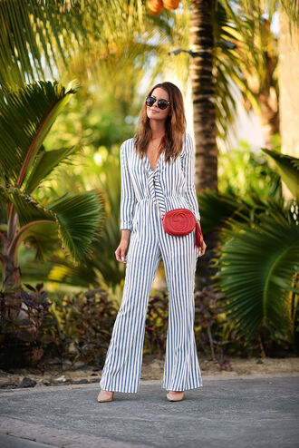 stylista blogger jumpsuit stripes gucci bag red bag 70s style