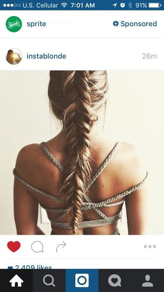 dress strappy boho grey braid criss cross open back beautiful