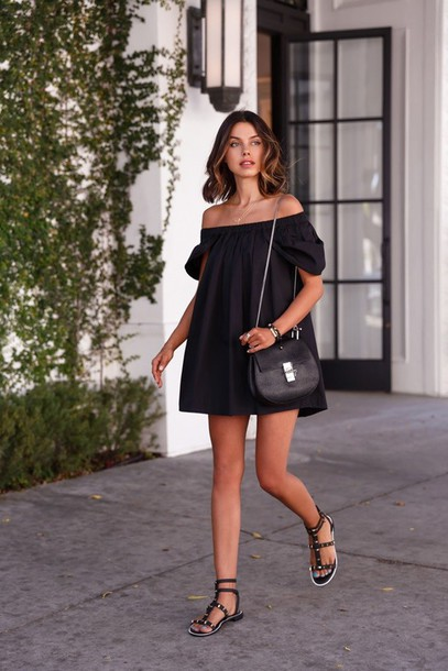 f14ebb9078f1 dress little black dress off shoulders dress off the shoulder off the shoulder  dress sandals black