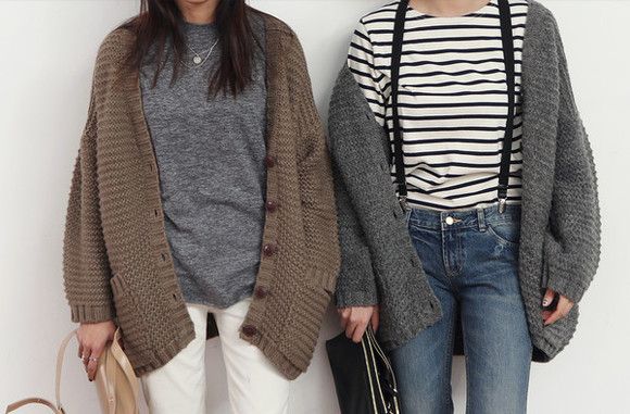t-shirt jeans white pants cardigan stylish girly girl aww clothes clothes for tumblr Easy outfits brown cardigan soft soft cardigan warm warm cardigan fall outfits autumn colors collection gray gray cardigan striped shirt striped t-shirt winter/autumn oversized cardigan