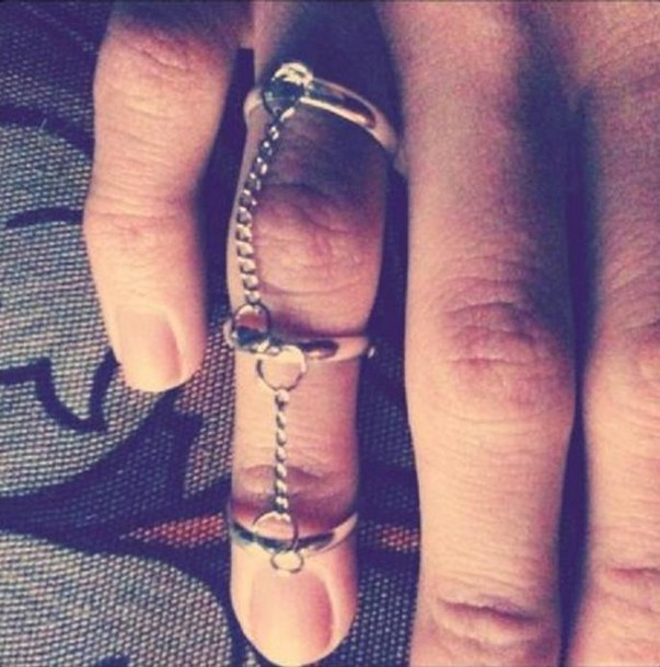 ring silver ring jewelry ladder ring knuckle ring chain gypsy ethnic tribal