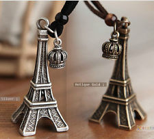 Characteristic Retro Style Paris Eiffel Tower Pendant Leather Banded Necklace | eBay