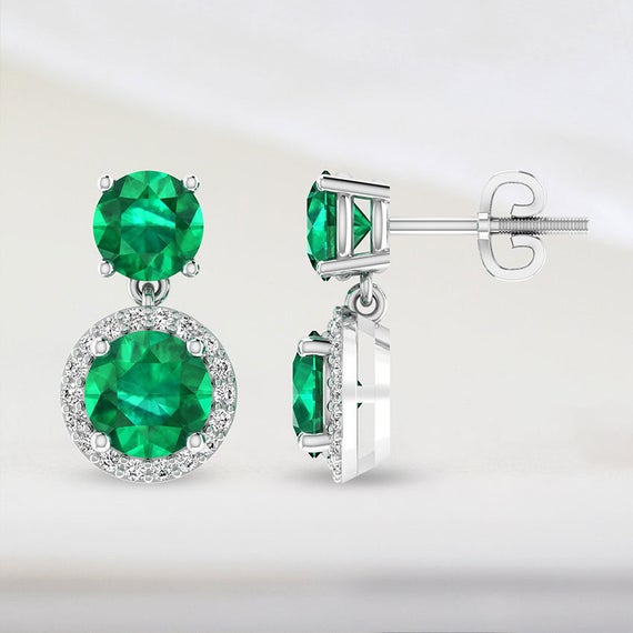 Emerald Drop Halo Solitaire Earring in White Gold, Small Gold Drop Screw Back Earring