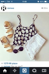 blouse,shorts,flowers,top,shoes,High waisted shorts,shirt,tumblr outfit,daisy top,sunglasses,daisy,black,tank top,clothes,cute,fashion,hipster,summer,summer outfits