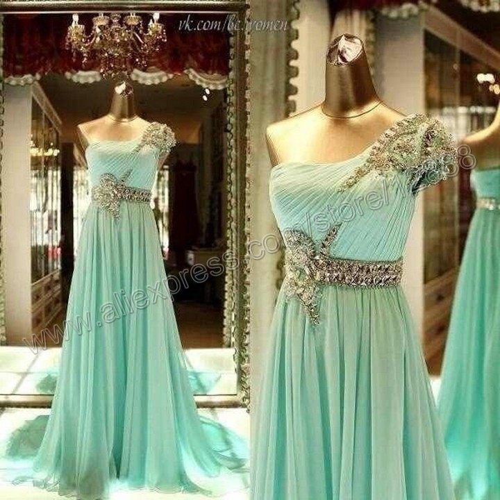 Mint Color One Shoulder Floor Length Real Picture Dresses New Fashion 2013 Evening-in Evening Dresses from Apparel & Accessories on Aliexpress.com