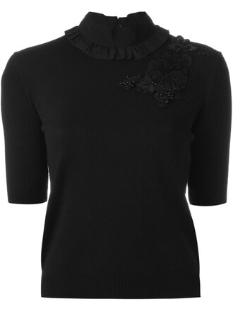 top knit embellished black