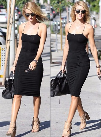 dress bodycon dress little black dress black dress rosie huntington-whiteley midi dress sandals shoes