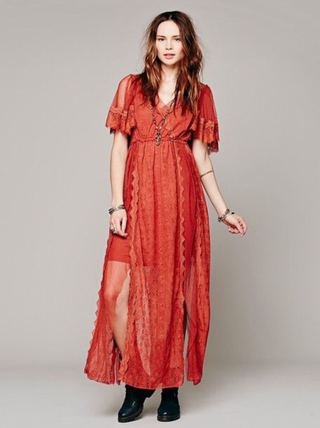 dress red boho indie hippie flower child