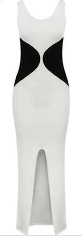 Shelly Two Tone Black & White Slimming Color Block Slit Maxi Dress   RawGlitter.com