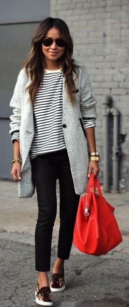 coat l grey wool coat long jumpers grey stripes grey coat bag handbag orange jacket winter coat winter outfits