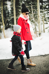 hello fashion,blogger,sweater,scarf,gloves,pom pom beanie,beanie,winter boots,kids fashion,duck boots,red coat,winter outfits,coat,leggings,shoes,hat,knitted gloves