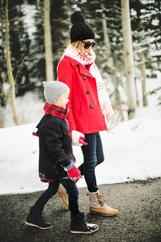 hello fashion blogger sweater scarf gloves pom pom beanie beanie winter boots kids fashion duck boots red coat winter outfits