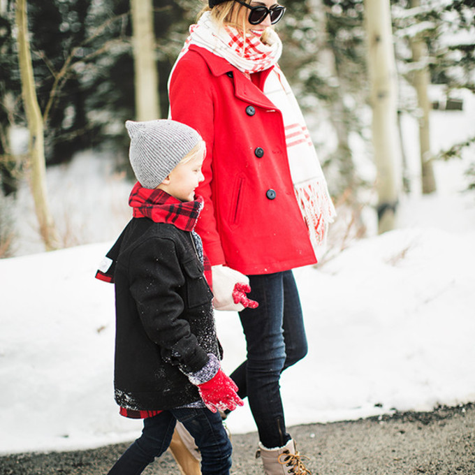 scarf sweater shoes coat hat leggings winter boots winter outfits blogger red coat hello fashion gloves pom pom beanie beanie kids fashion duck boots scarf red