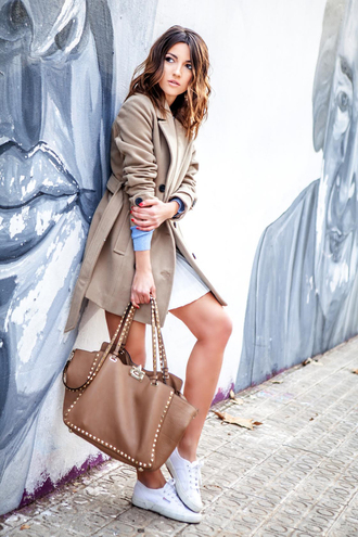 lovely pepa blogger coat sweater skirt bag shoes