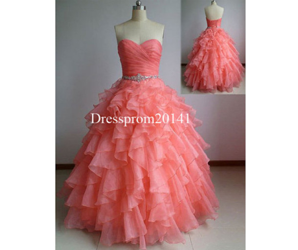 wedding dress, coral dress, plus size, plus size dress, prom dress ...